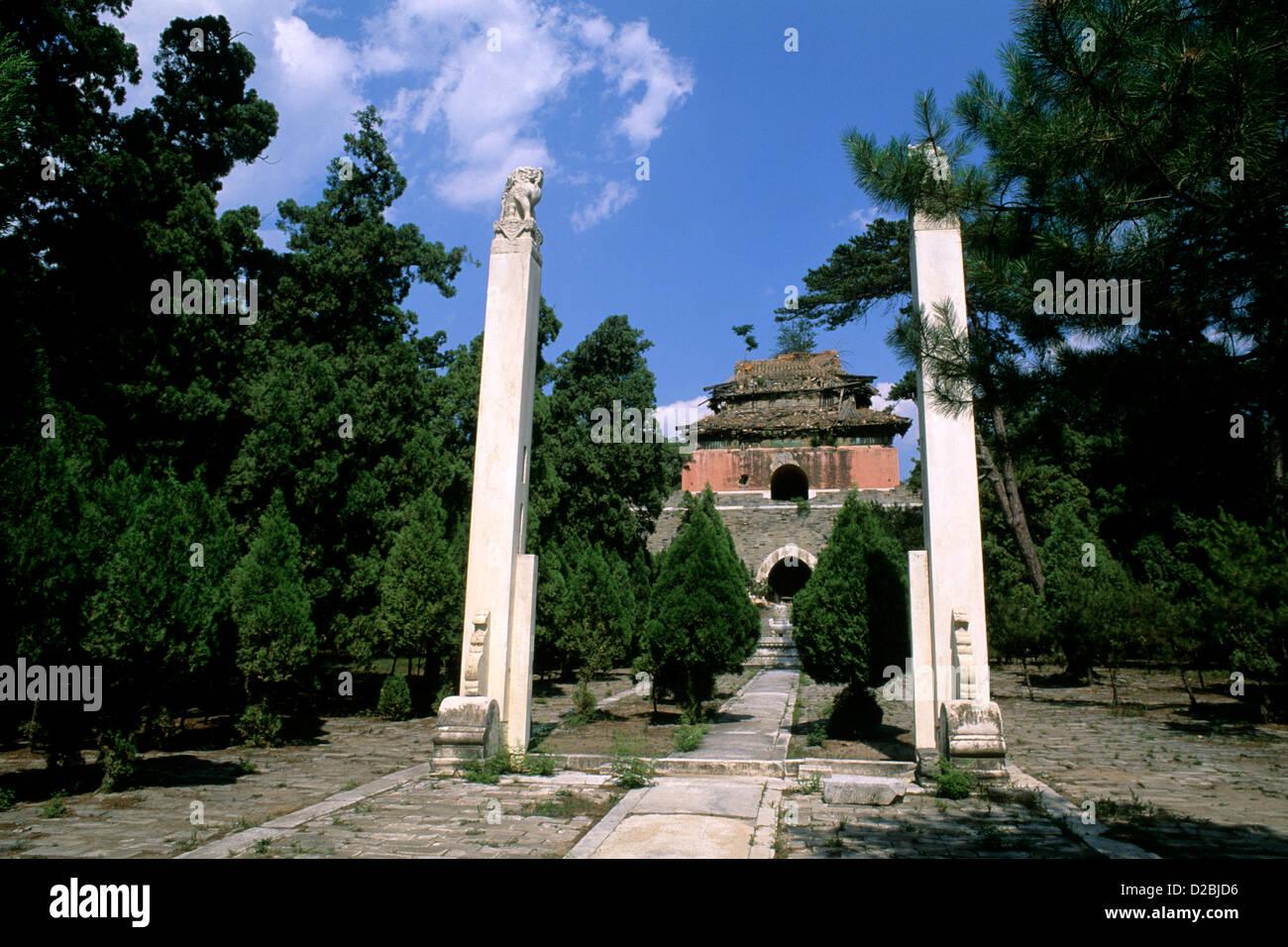 Cina, Rare Tomba Ming a Deling tomba Immagini Stock