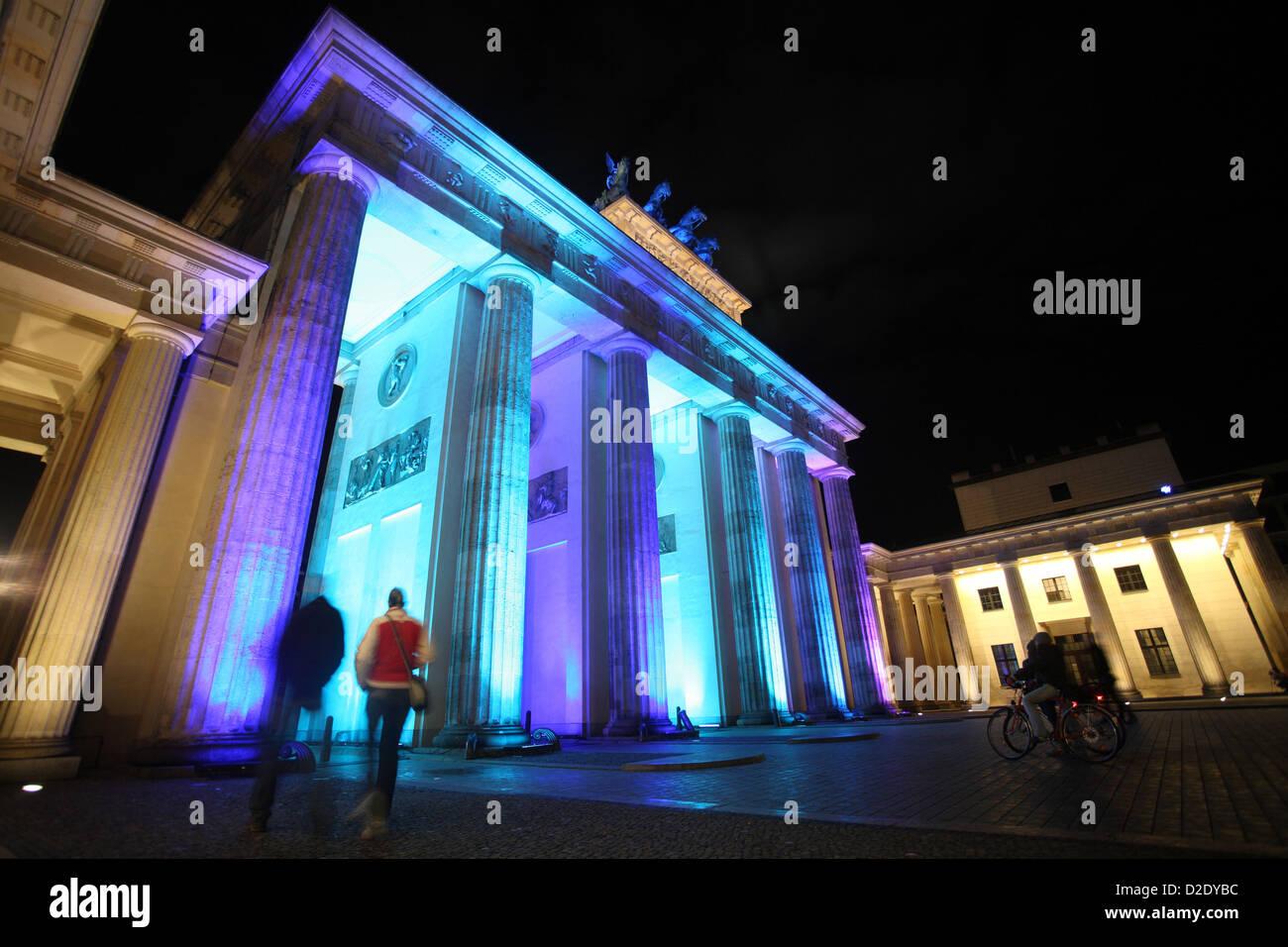 Berlino, Germania, la Porta di Brandeburgo durante la festa delle luci 2009 Immagini Stock