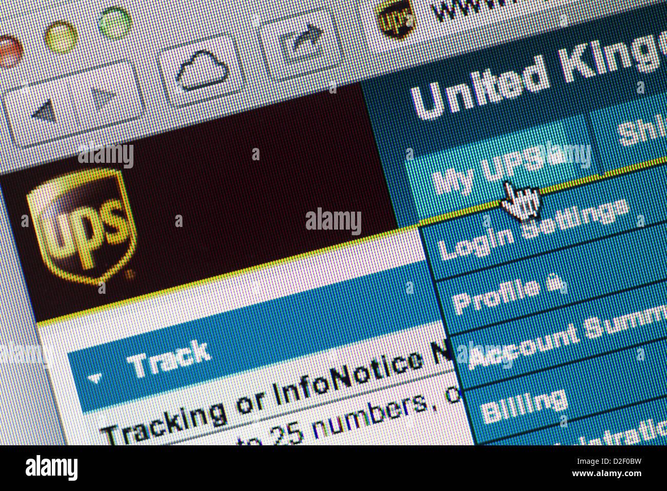 Il logo UPS e sito web close up Immagini Stock