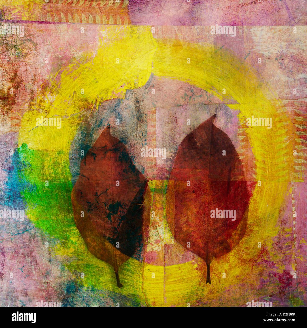 Due foglie di cerchio ad arte. Immagini Stock