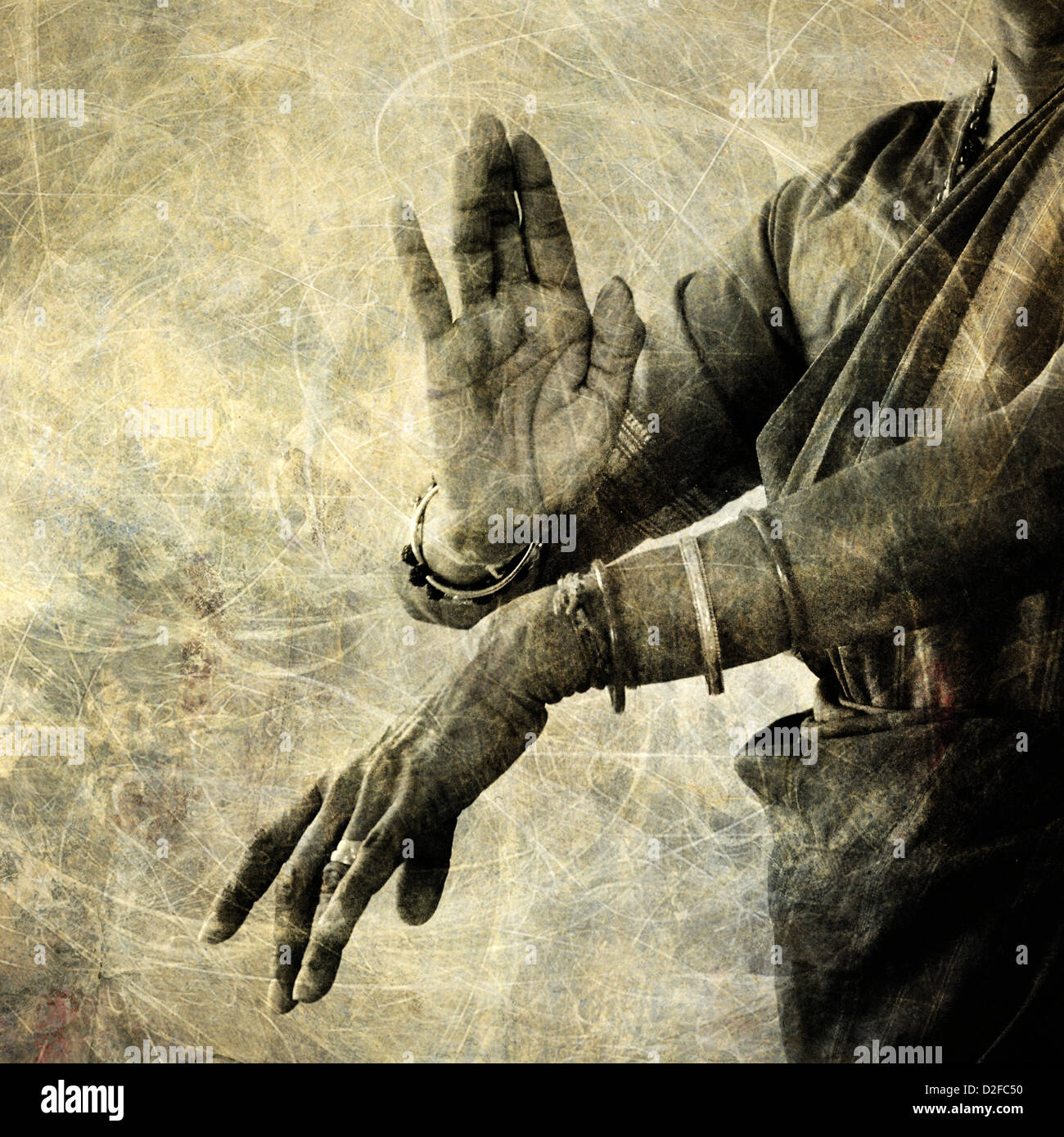 Le mani di un ballerino indiano. Immagini Stock