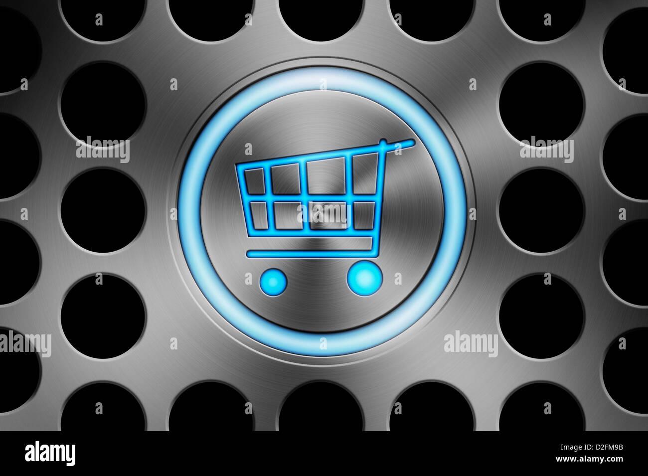 Lo shopping online è il concetto di tecnologia Immagini Stock