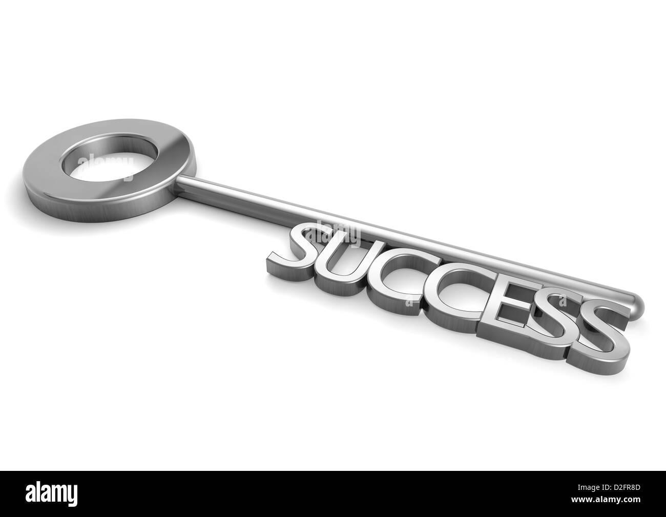 Successo - chiave di argento con la parola successo - Concetto di immagine Immagini Stock