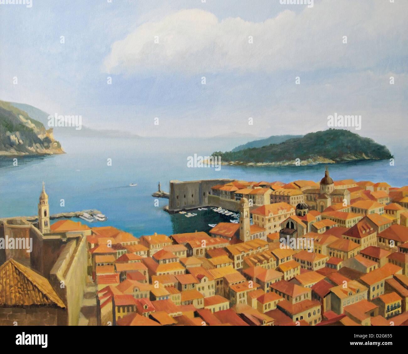 Un dipinto ad olio su tela di una bellissima vista panoramica dal punto più alto della parete della città, Immagini Stock