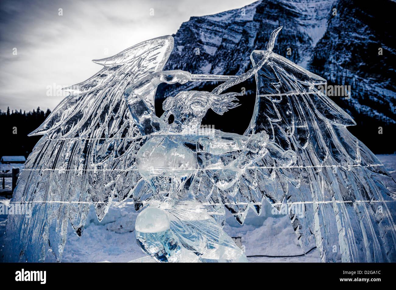 Il Lago Louise Ice Magic Festival è il fulcro del Parco Nazionale di Banff Snow Days Festival Immagini Stock