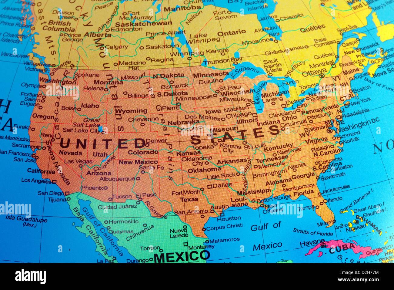 La Cartina Degli Stati Uniti D America.Usa Una Mappa Degli Stati Uniti D America Da Un Globo Foto Stock Alamy
