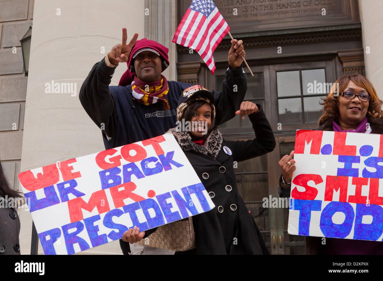 I sostenitori di Obama celebrando Immagini Stock