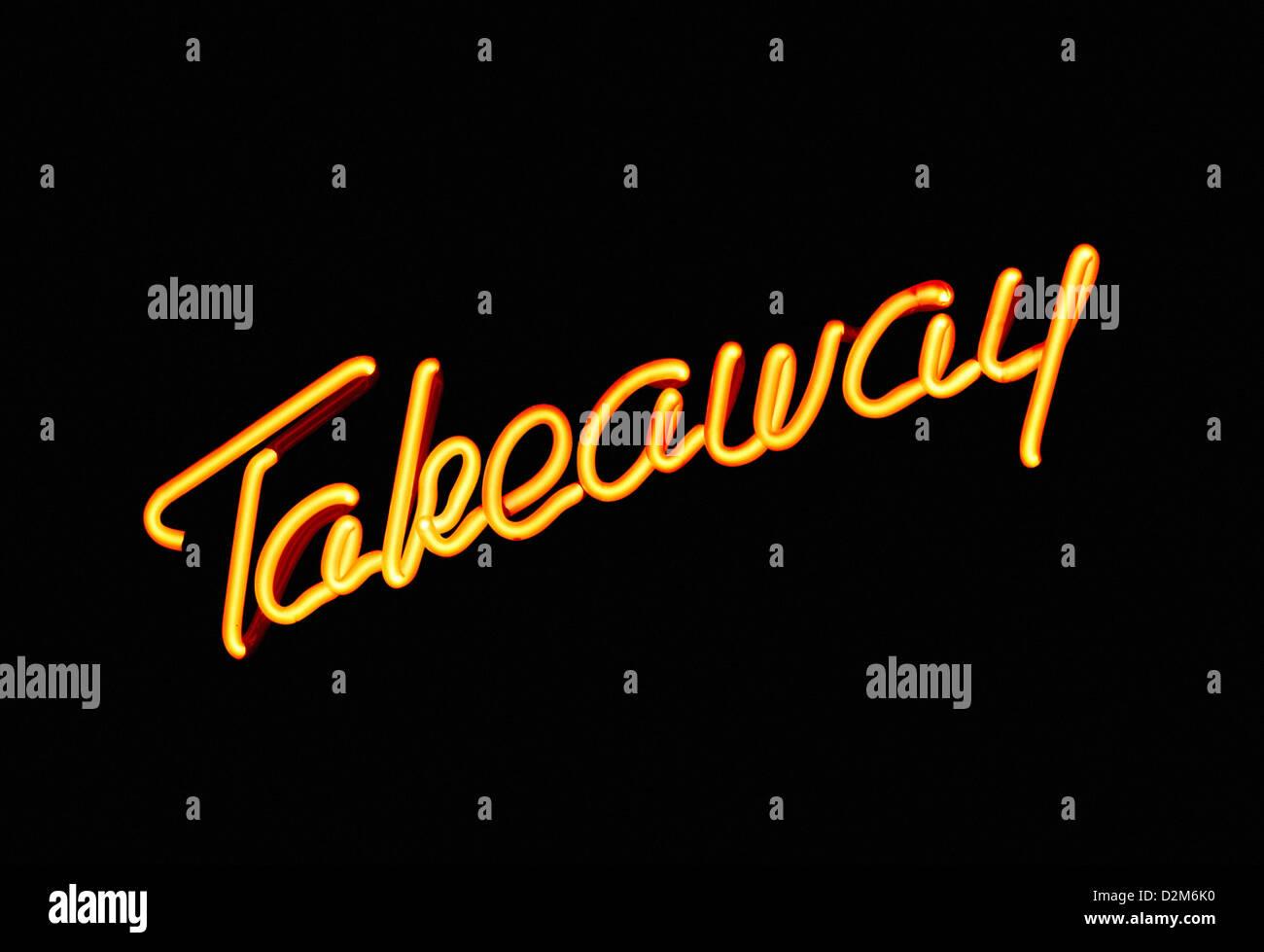 Illuminati al neon pubblicità segno take away o effettuare Immagini Stock