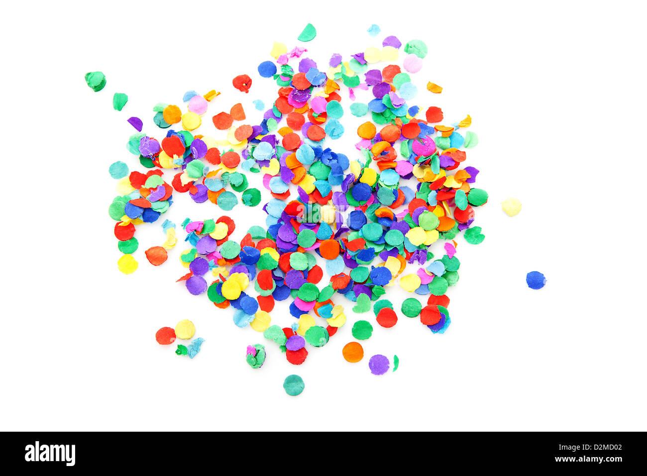 Coriandoli colorati su sfondo bianco Immagini Stock