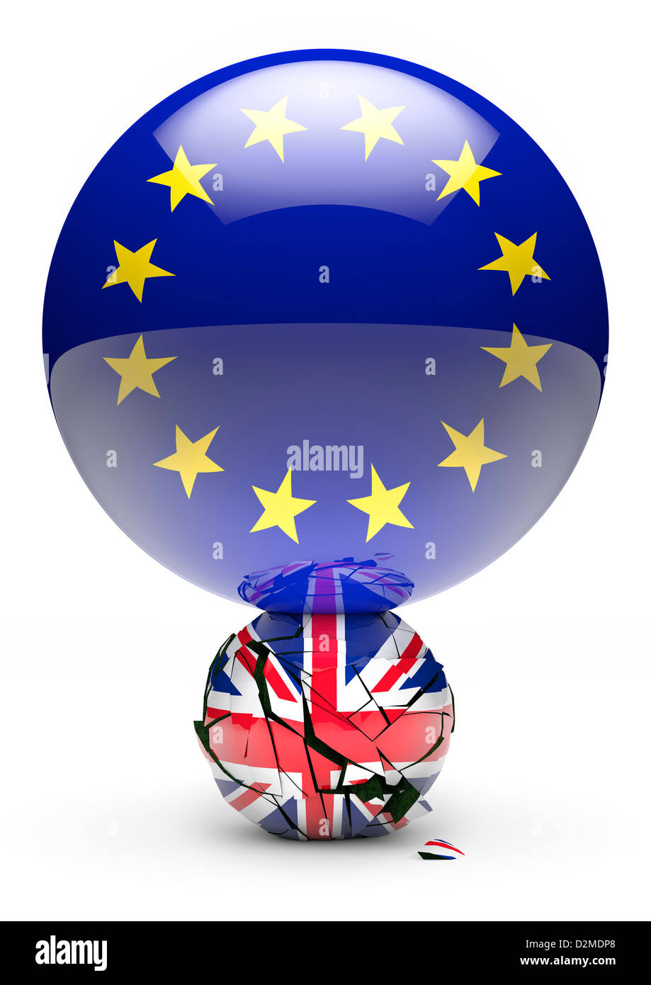 Grande bandiera europea sfera minore di frantumazione Unione Britannica bandiera sfera - UE rompere / alimentazione Immagini Stock