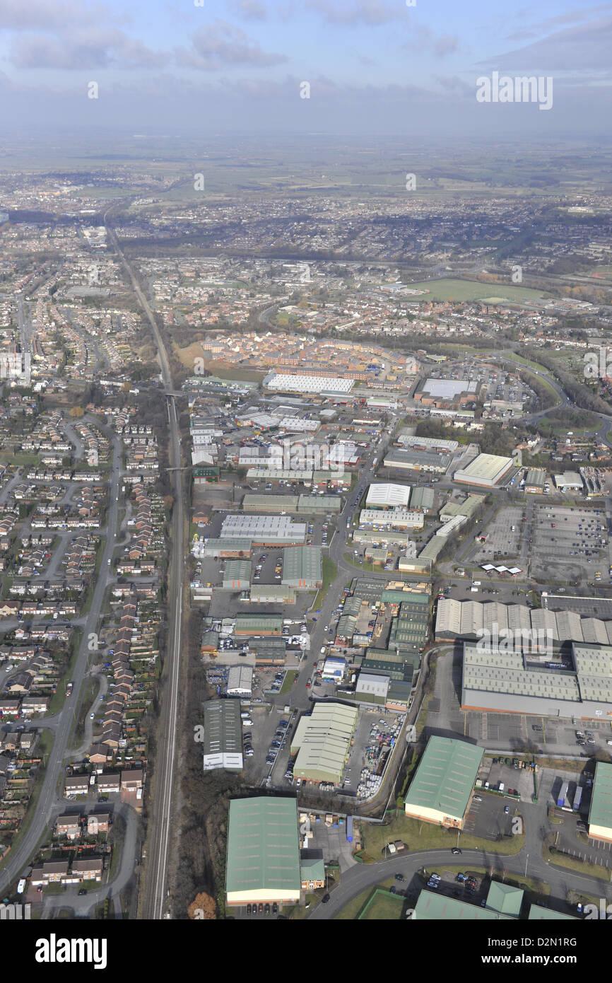 Fotografia aerea della Valle di Tame Industrial Estate Tamworth Immagini Stock