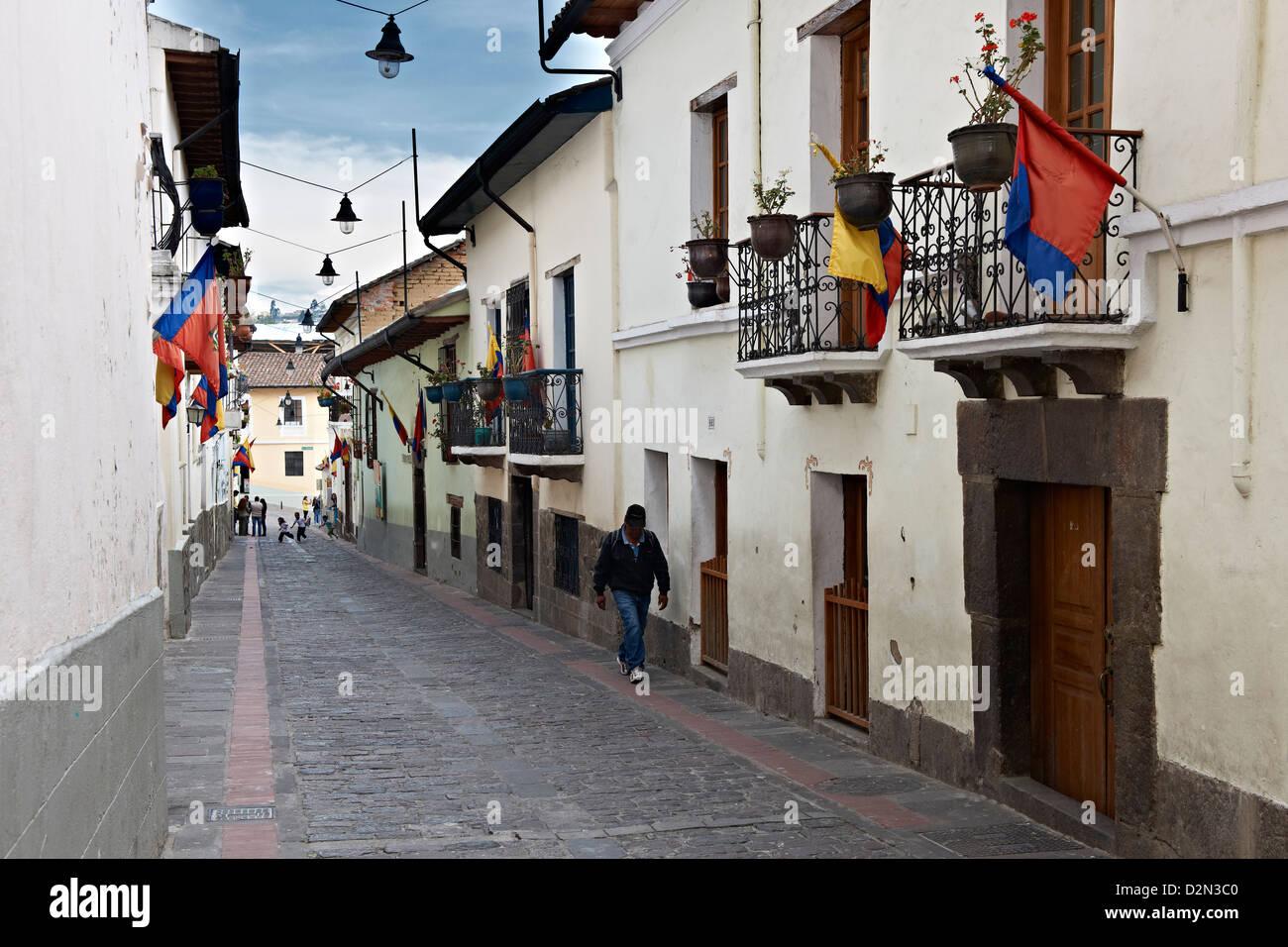 Calle de la Ronda, centro storico di Quito, Ecuador Immagini Stock