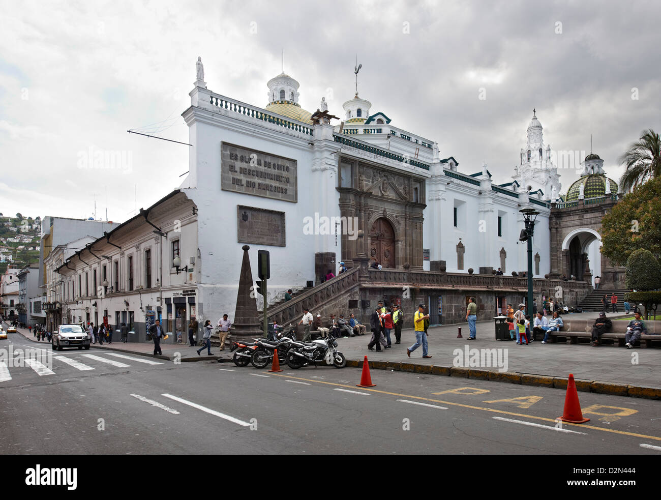 Cattedrale Metropolitana, per il centro storico di Quito, Ecuador Immagini Stock