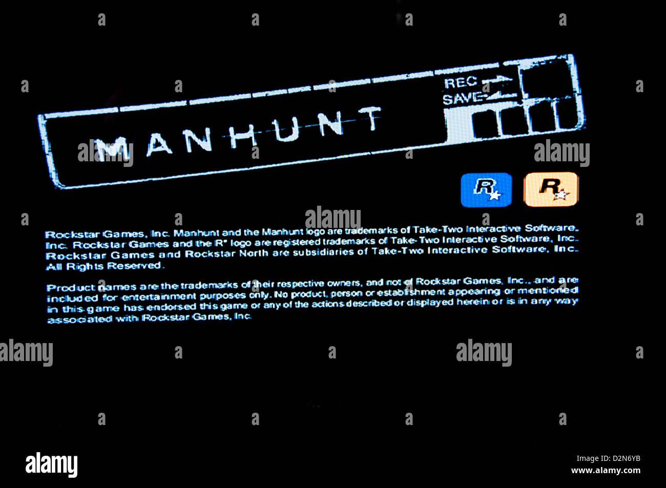 Manhunt violento horror psicologico gioco video Immagini Stock