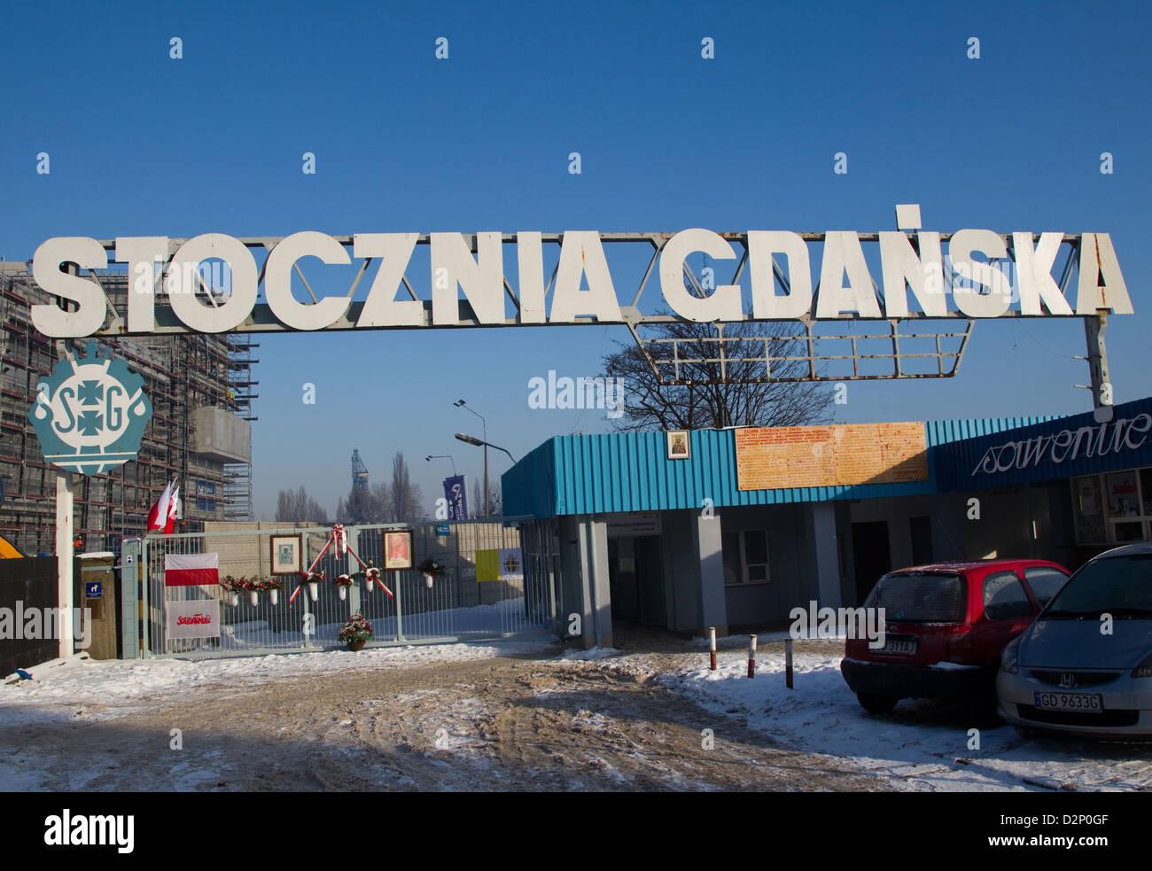 I cancelli del Cantiere di Danzica il luogo di nascita di solidarietà Immagini Stock