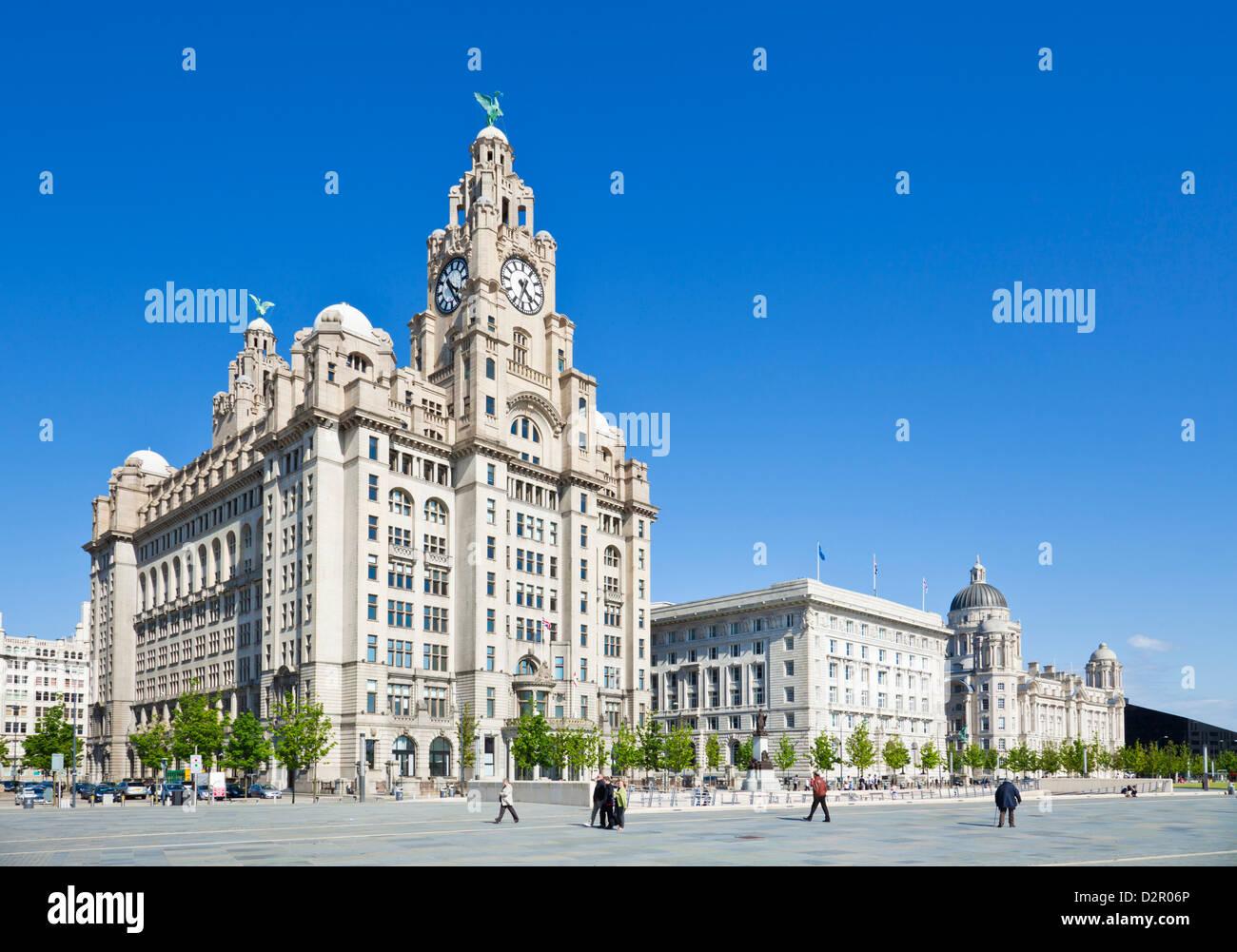 Tre Grazie edifici, Pierhead, Liverpool waterfront, Liverpool, Merseyside England, Regno Unito Immagini Stock