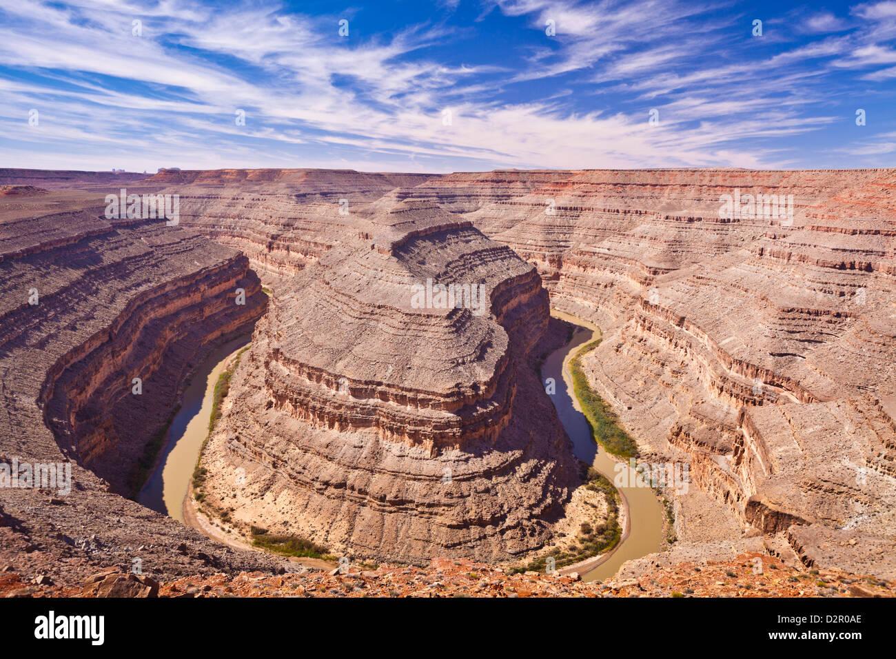 Il fiume San Juan, il parco statale Goosenecks, Utah, Stati Uniti d'America, America del Nord Immagini Stock
