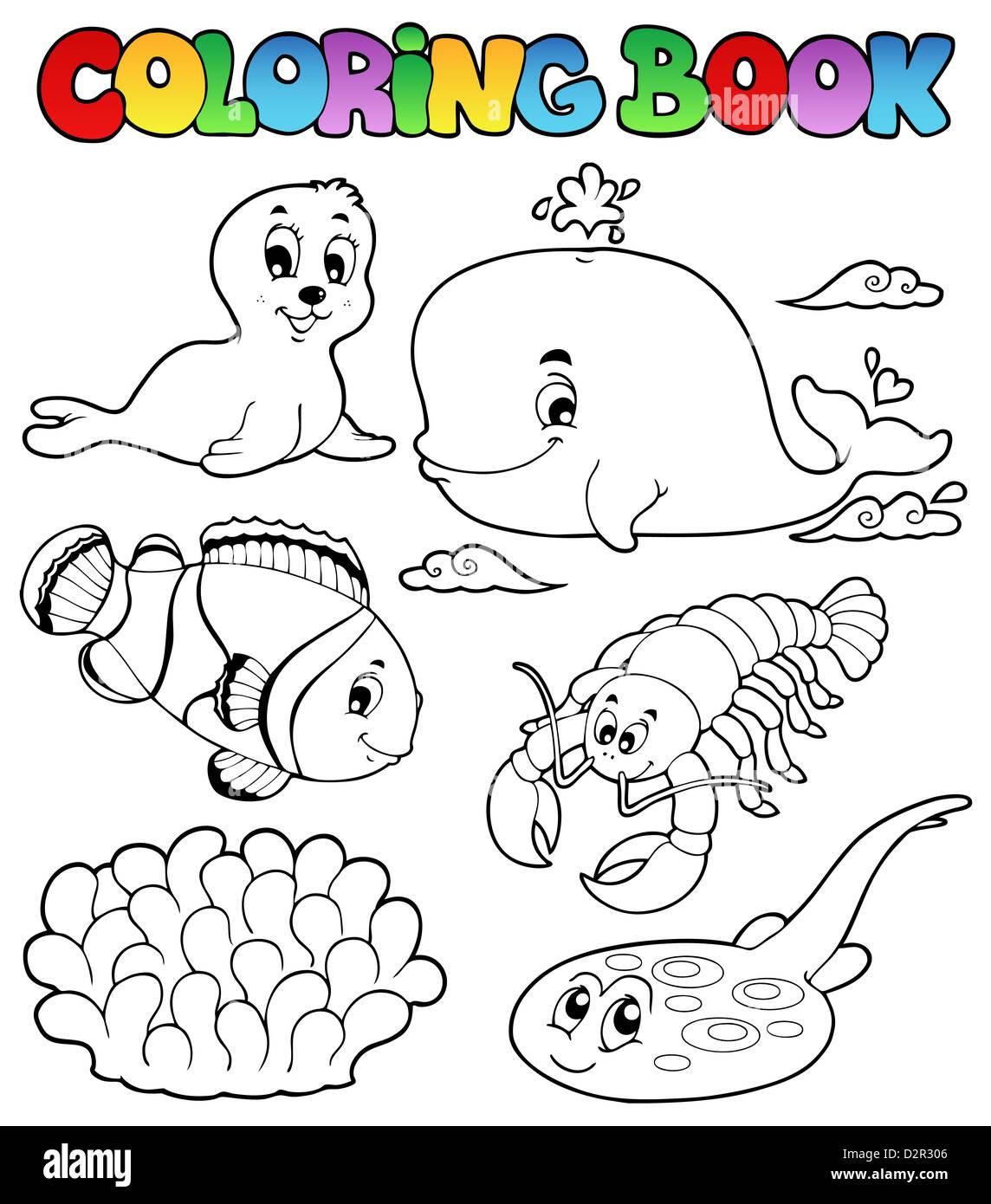 Libro Da Colorare Vari Animali Del Mare 3 Foto Illustrazione Foto