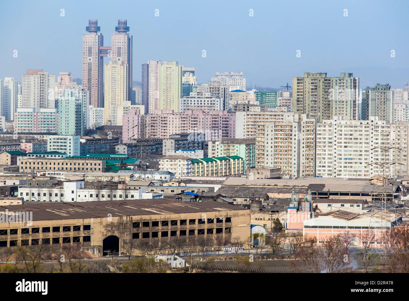Appartamento di città edifici, Pyongyang, Repubblica Popolare Democratica di Corea (DPRK), la Corea del Nord, Immagini Stock