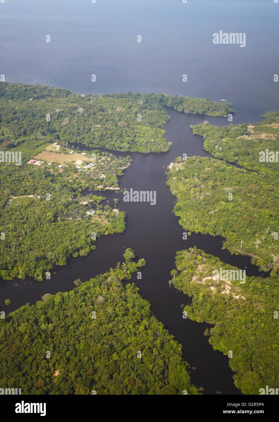 Vista aerea della foresta pluviale amazzonica e il Rio Negro, Manaus, Amazonas, Brasile, Sud America Foto Stock