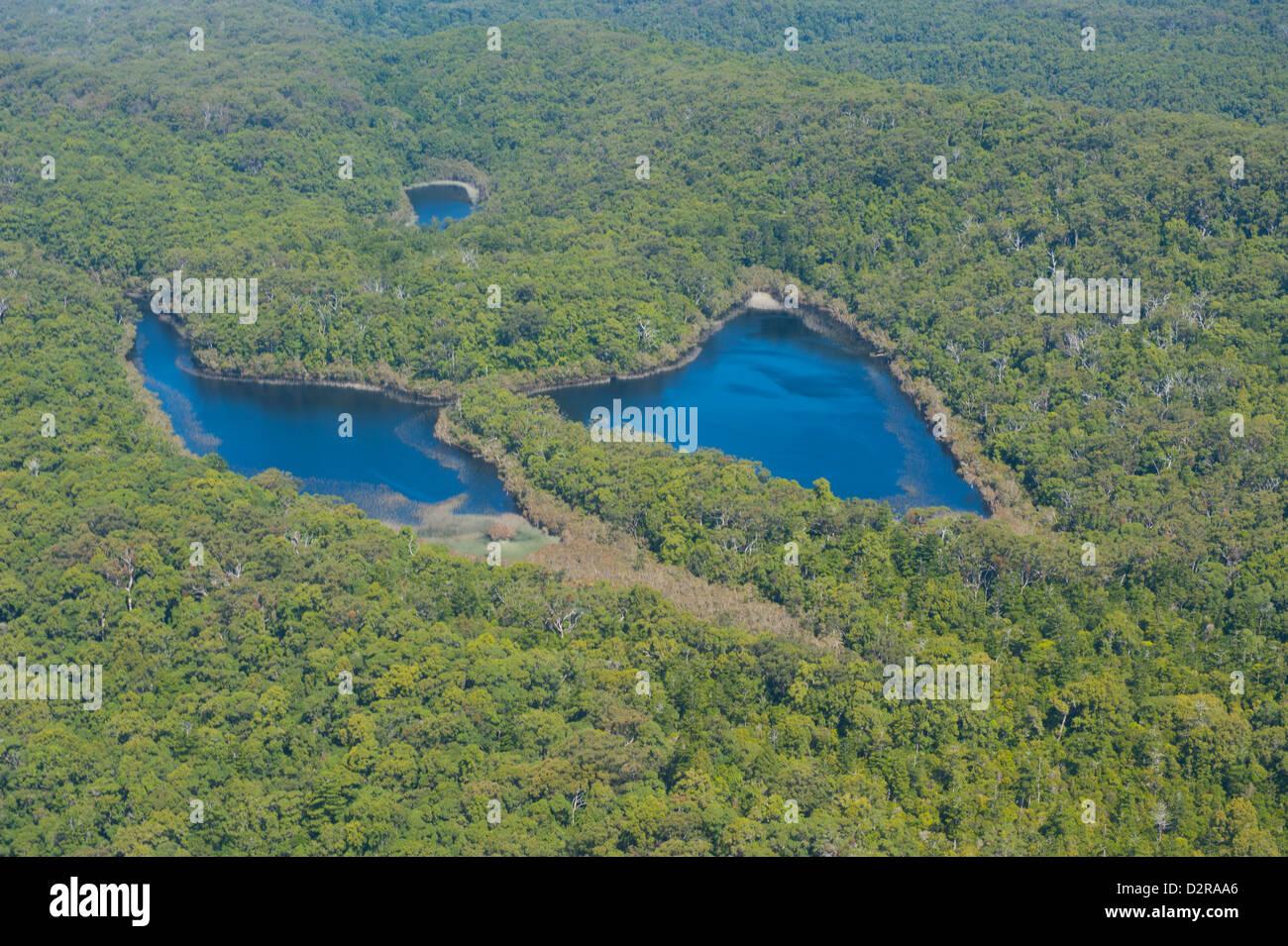 Antenna della Butterfly Laghi, l'Isola di Fraser, Sito Patrimonio Mondiale dell'UNESCO, Queensland, Australia Immagini Stock