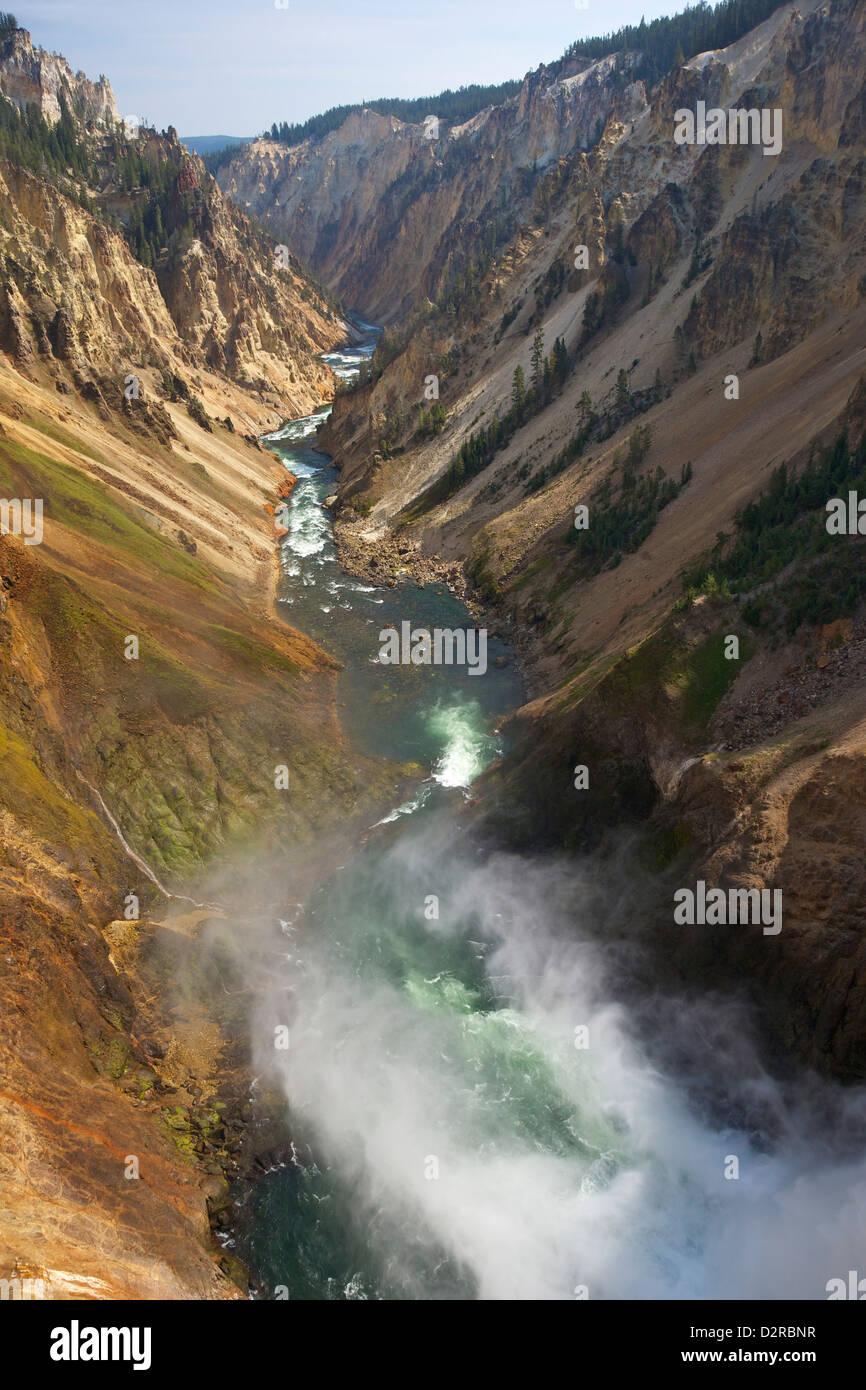 Orlo di cascate inferiori di Yellowstone River, il Grand Canyon di Yellowstone, il Parco Nazionale di Yellowstone, Immagini Stock