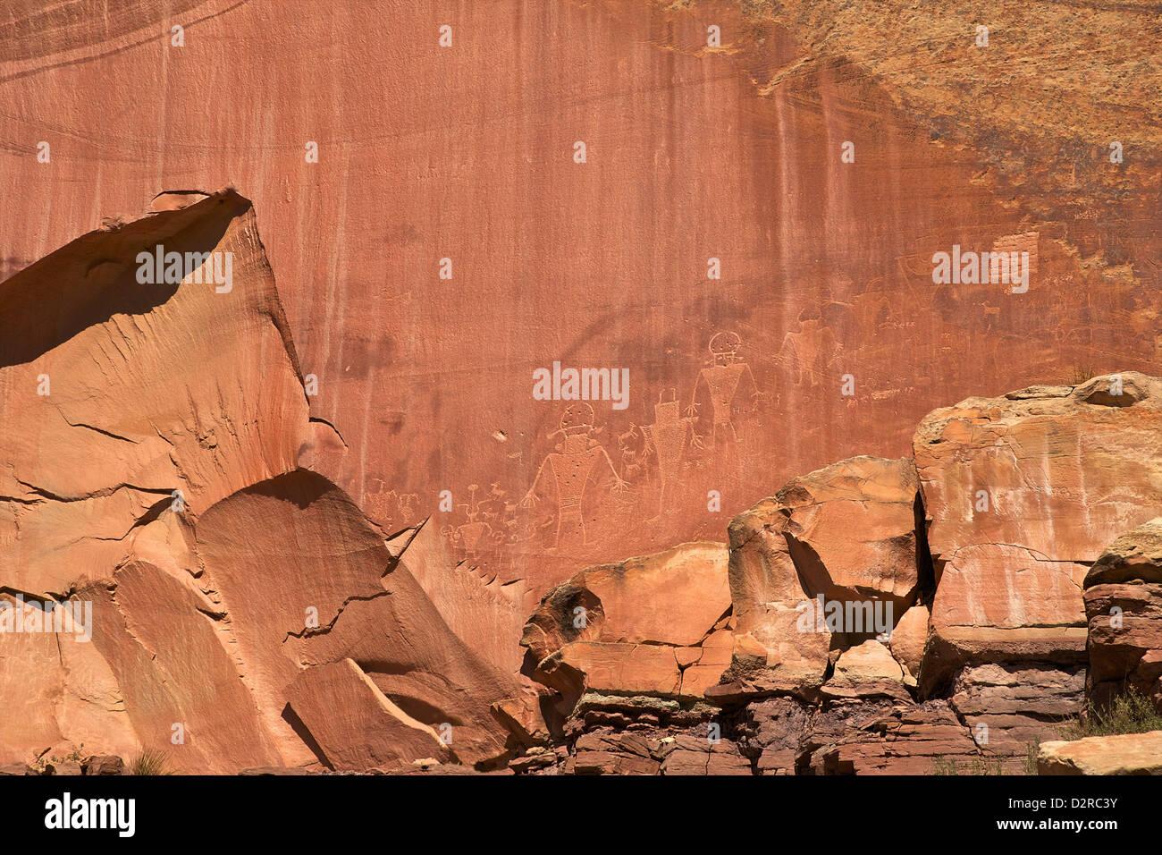 Fremont petroglifi indiani a Capitol Reef National Park nello Utah, Stati Uniti d'America, America del Nord Immagini Stock