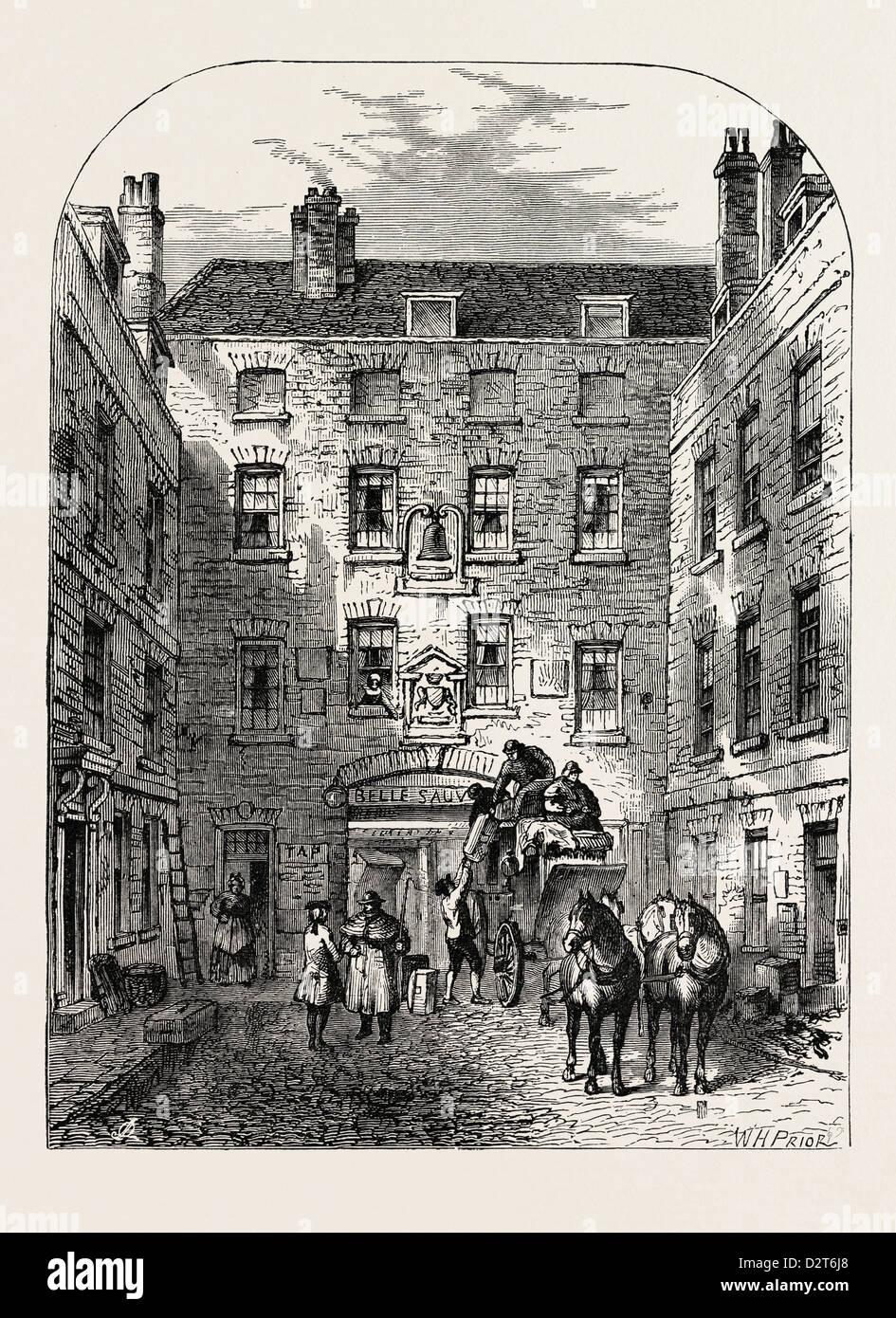 Corte esterna di LA BELLE SAUVAGE nel 1828 Londra Immagini Stock