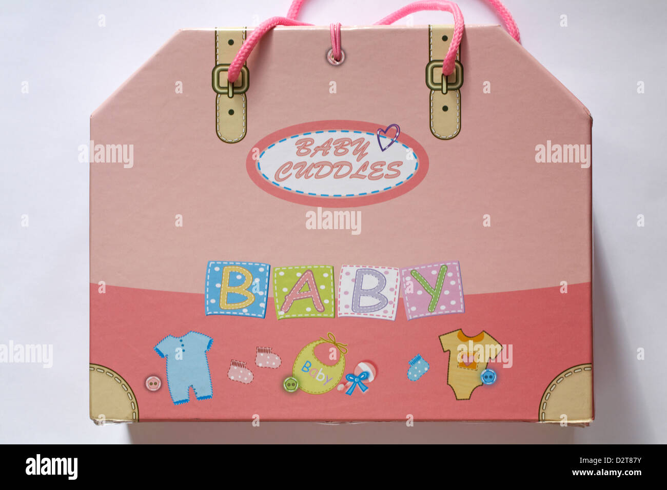 Baby coccole caso impostato su sfondo bianco Immagini Stock