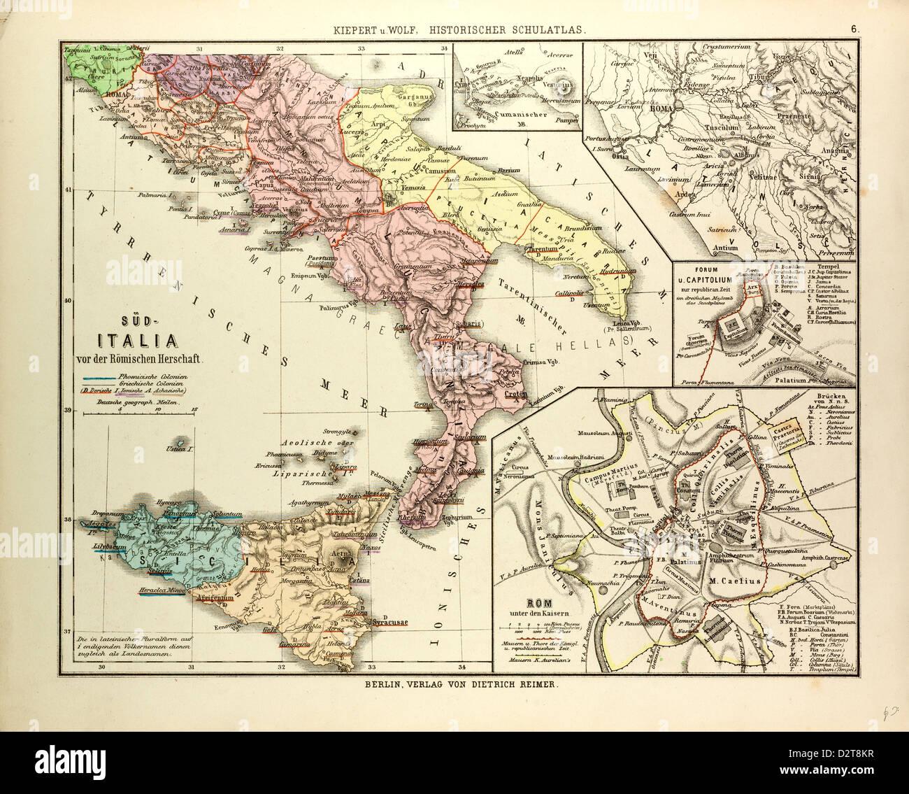 Cartina Italia Romana.Cartina Del Sud Italia Prima Dell Impero Romano Foto Stock Alamy