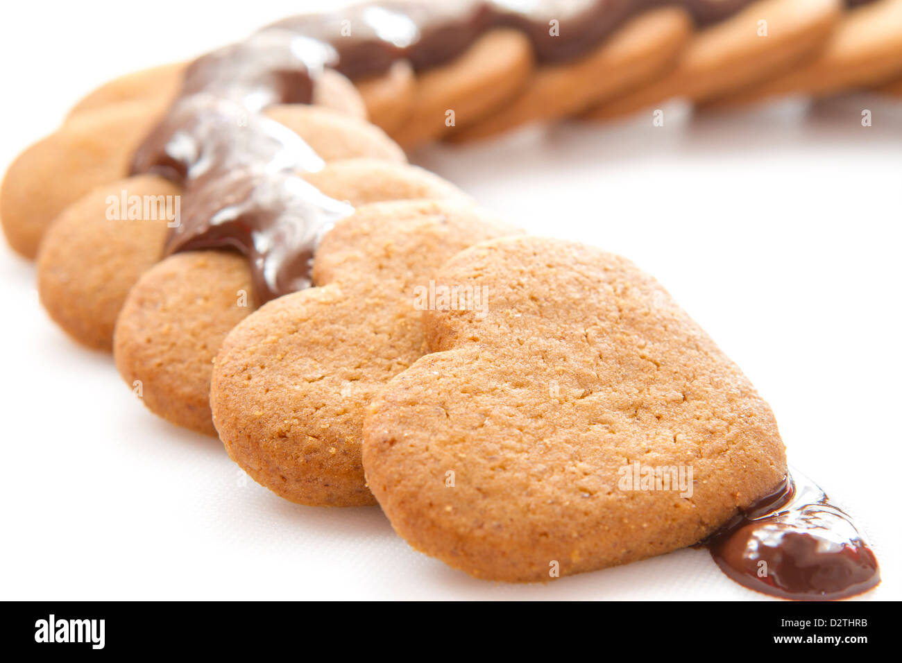 Biscotti al cioccolato sul tavolo bianco Immagini Stock
