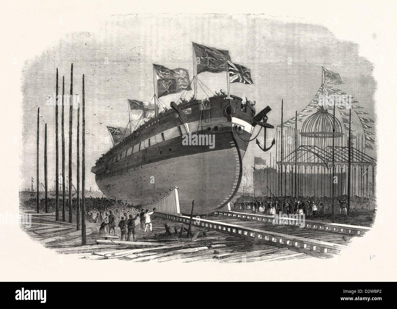 Lancio di sua maestà a vapore fregata RAM RESISTENZA A MILLWALL Immagini Stock