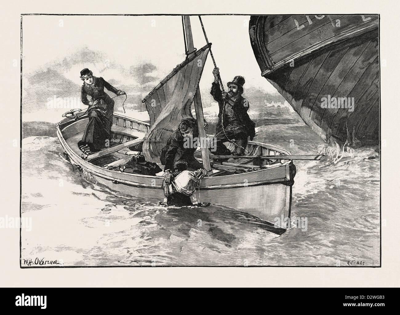 Mentre ho afferrato a lui Abramo entrobordo era issare la vela. Disegnata da W.H. OVEREND Immagini Stock