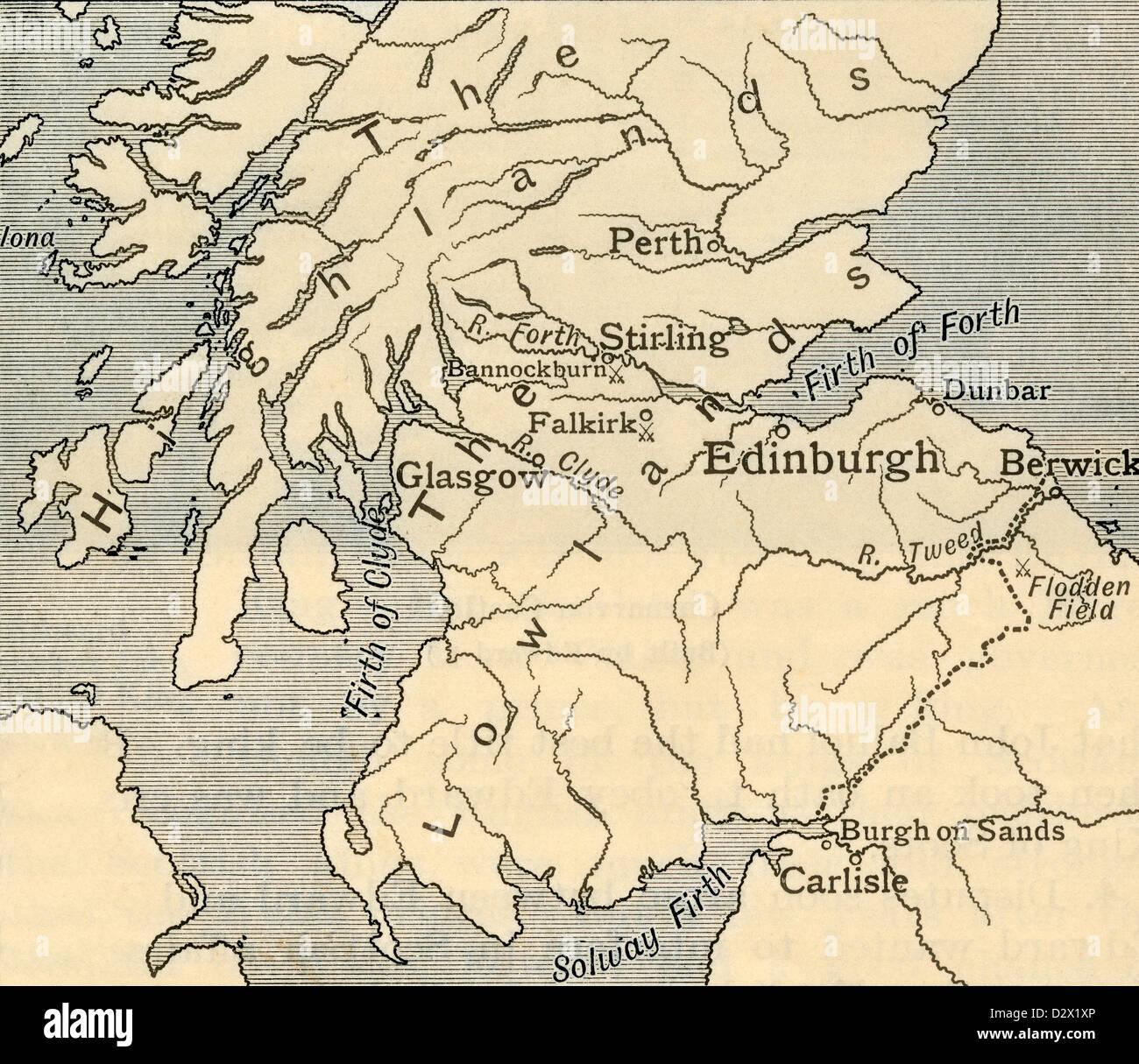 Mappa del sud della Scozia durante il tardo medioevo. Da un primo libro di storia britannica pubblicato 1925. Immagini Stock