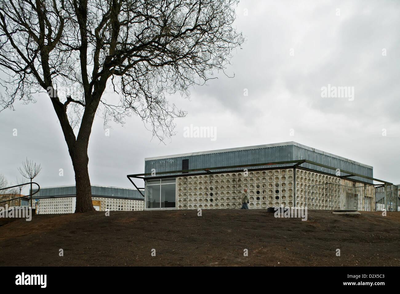 Altenburg, Germania, edifici vuoti con facciata strutturato Immagini Stock