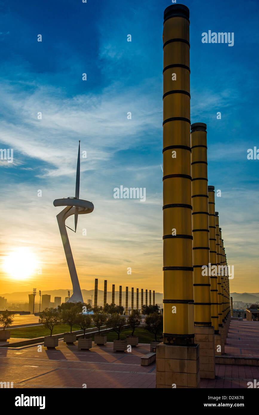 Torre di Calatrava, parco olimpico Barcellona, in Catalogna, Spagna Immagini Stock