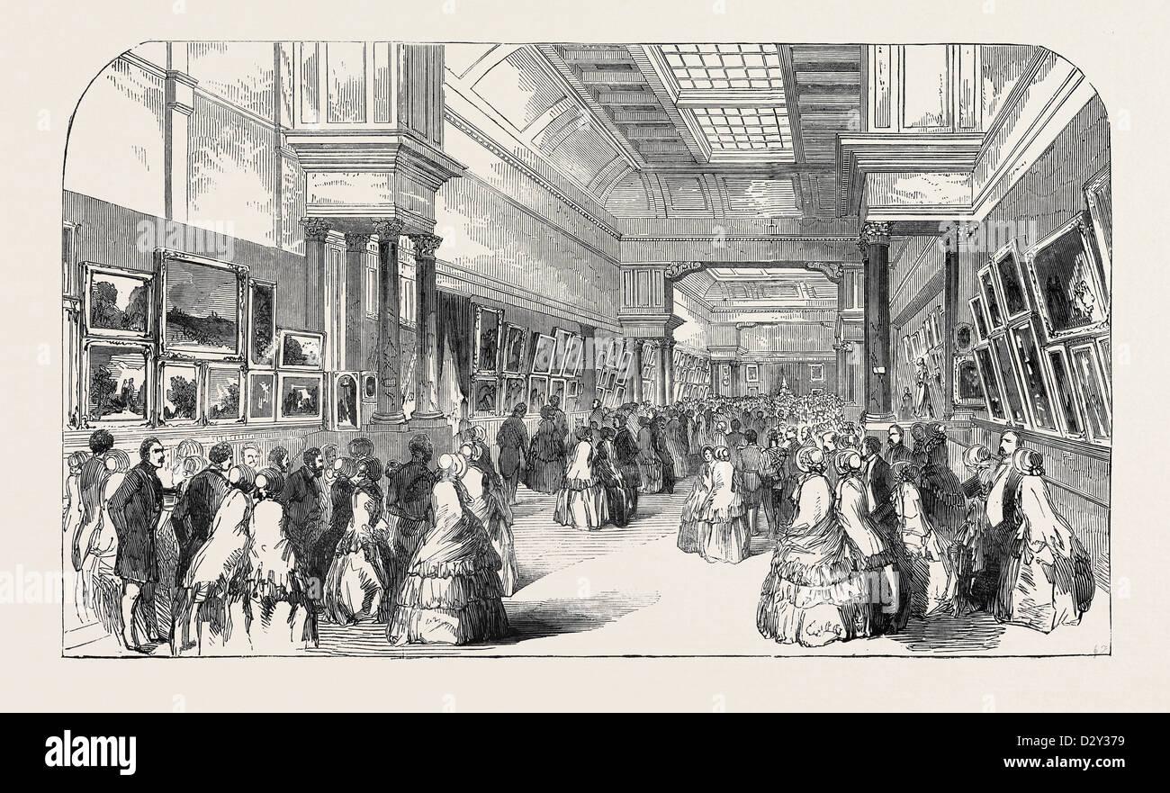 Sua Maestà la visita in Belgio: SUA MAESTÀ LA VISITA alle belle arti mostra presso Anversa, 1852 Immagini Stock