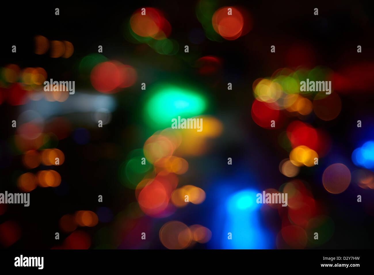 Sfondo astratto con sfere colorate di illuminazione sfocati foto