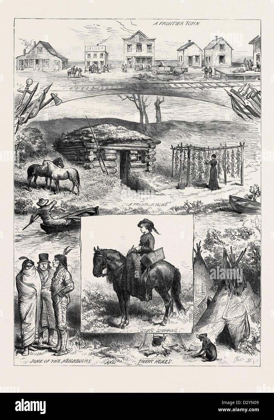 Un NUOVO INSEDIAMENTO IN MINNESOTA AMERICA 1880 Immagini Stock