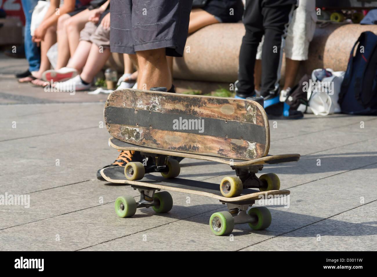 Tre Vecchi skateboard Immagini Stock