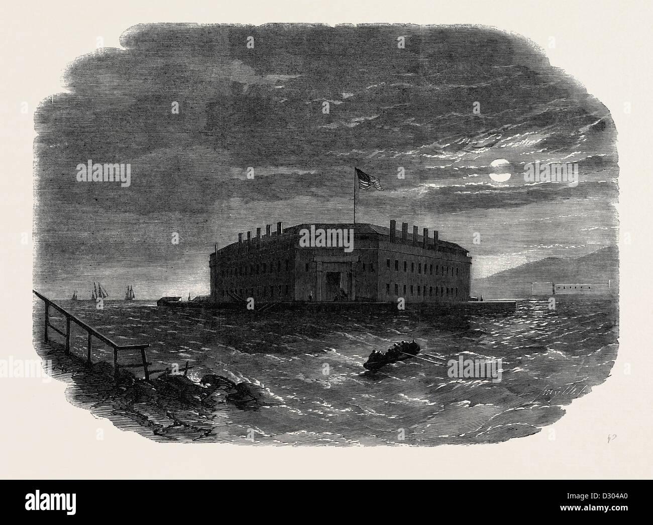 FORT LAFAYETTE la Bastiglia FEDERALE PER I PRIGIONIERI POLITICI 1862 Immagini Stock