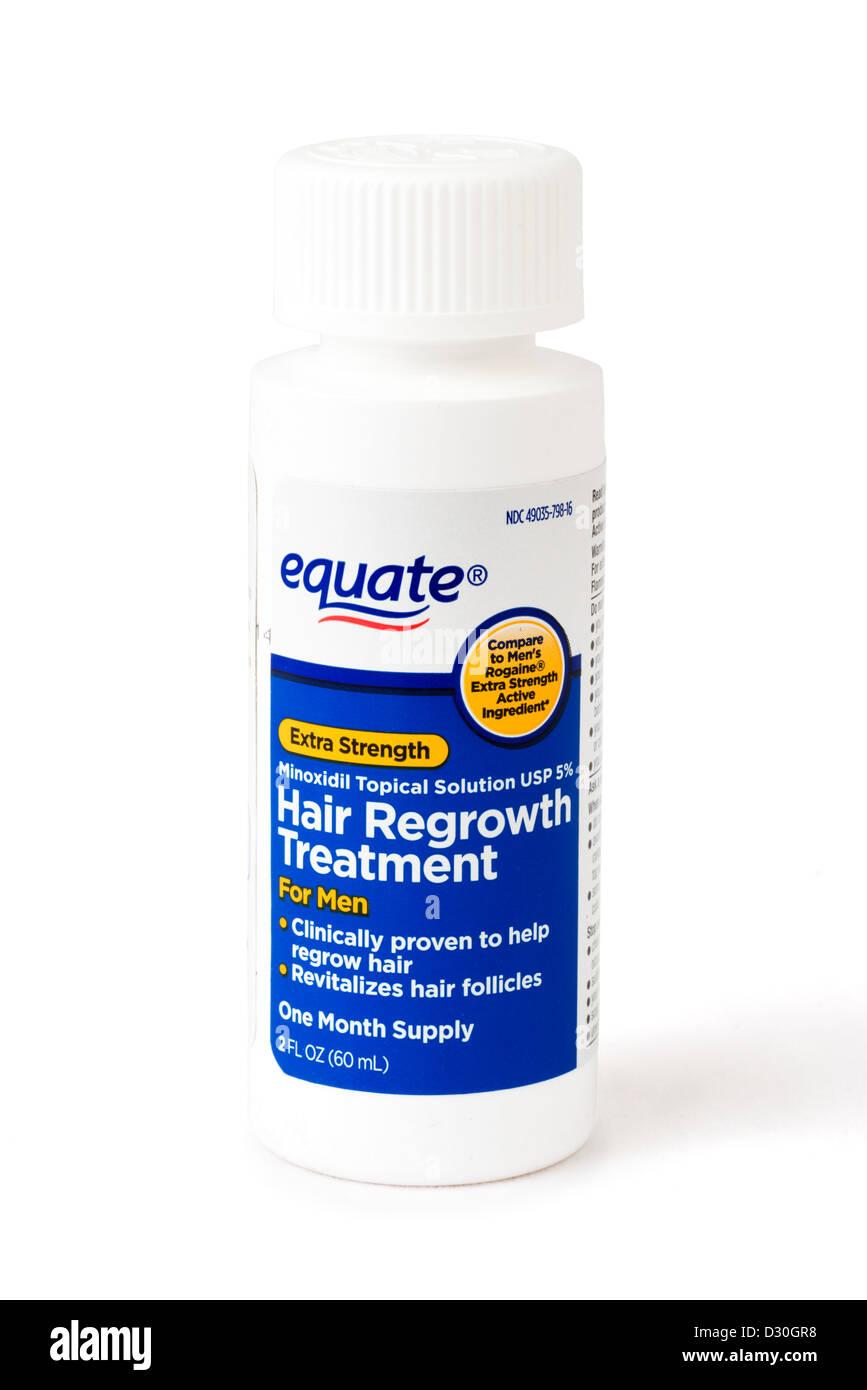 Walmart di equiparare il proprio marchio minoxidil topico la ricrescita dei capelli trattamento, equivalente a Rogaine/Regaine Immagini Stock