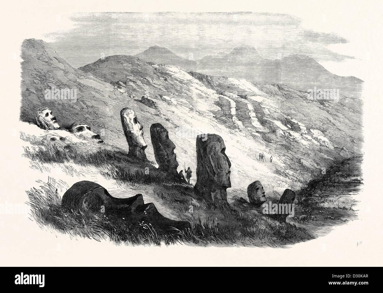Gruppo di immagini all'interno del cratere di OTUITI Isola di Pasqua 1869 Immagini Stock