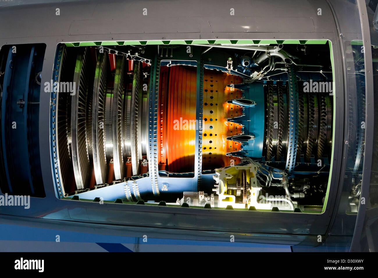Pratt & Whitney JT9D motore turbofan sezione trasversale Immagini Stock