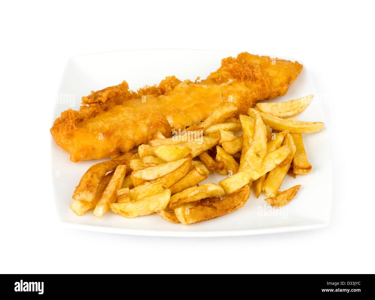 Piastra del tradizionale take-away pesce e patatine fritte Immagini Stock