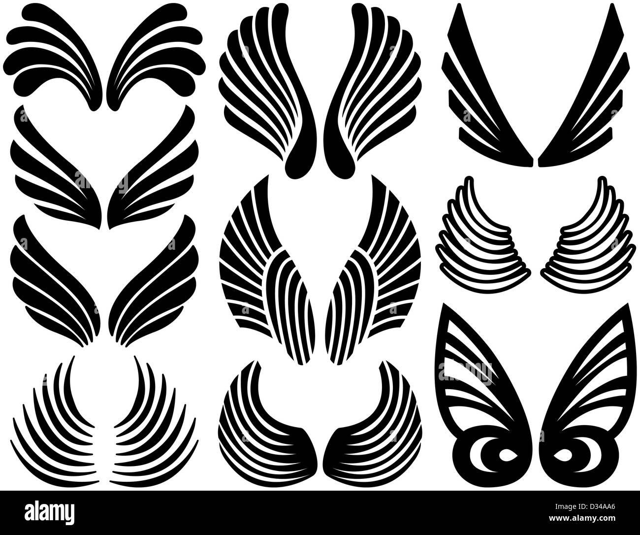 Dieci Set Di Nero Stilizzata Ali D Angelo Foto Immagine Stock