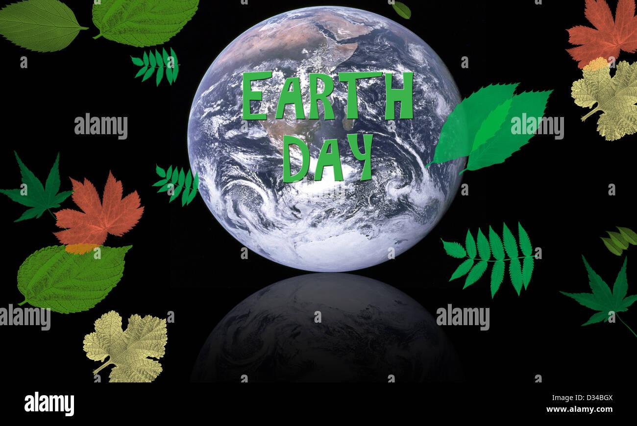 La giornata della terra concetto con pianeta circondato da foglie di conservazione - Elementi di questa immagine Immagini Stock