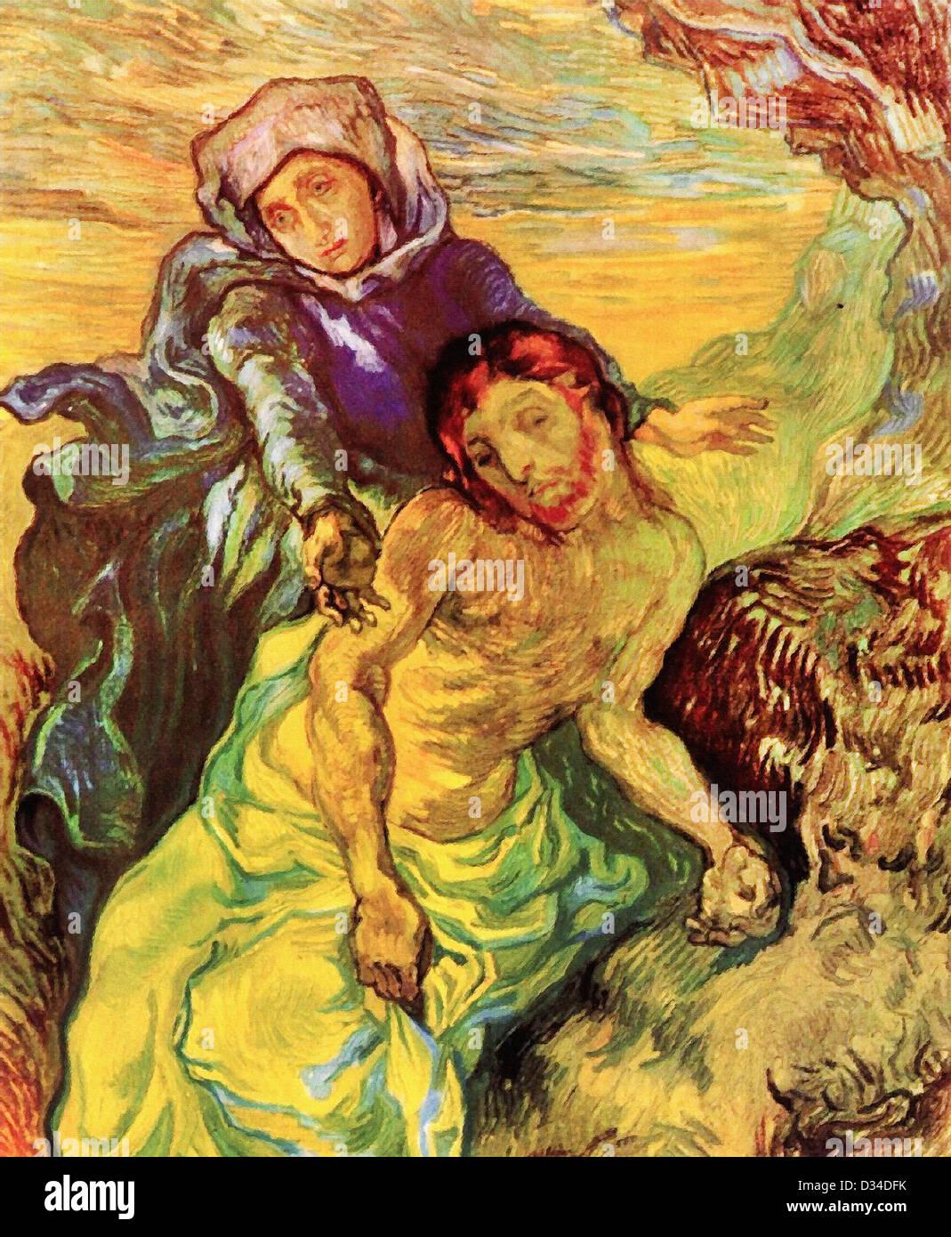 Vincent van Gogh, pietà. 1889. Post-Impressionism. Olio su tela. Van Gogh Museum di Amsterdam, Paesi Bassi. Immagini Stock