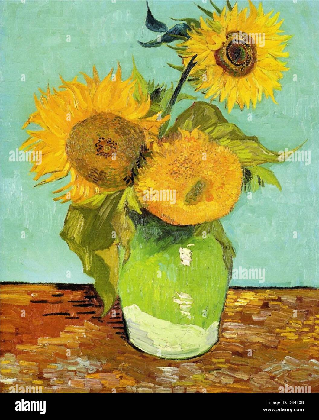 Vincent van Gogh, girasoli. 1888. Post-Impressionism. Olio su tela. Luogo di creazione: Arles-sur-tech, Francia. Immagini Stock