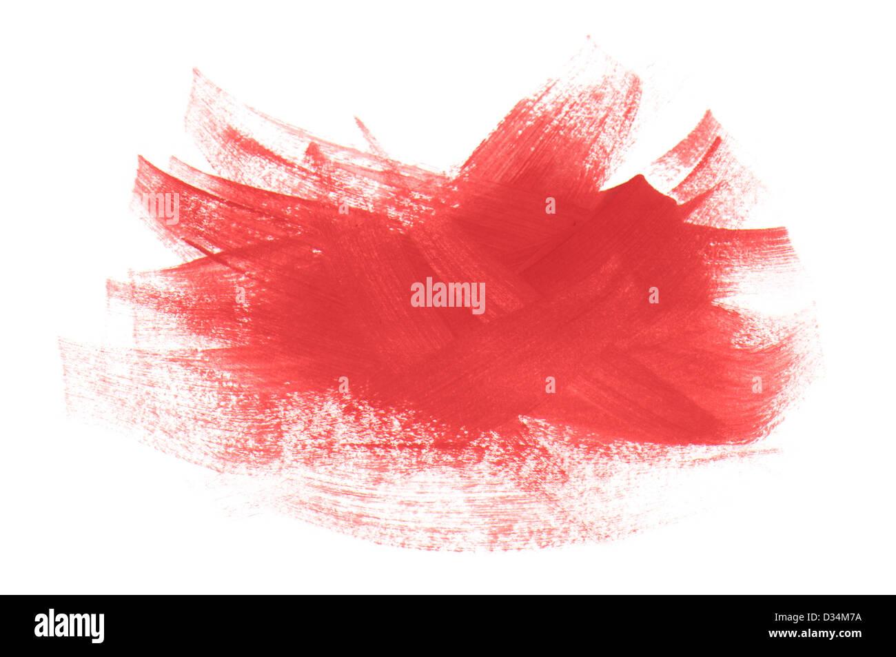 Vernice acrilica rosso spazzola tratti isolati su sfondo bianco Immagini Stock
